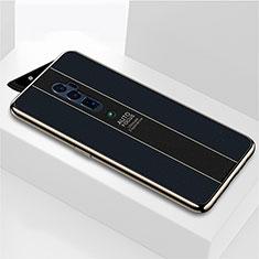 Oppo Reno 10X Zoom用ハイブリットバンパーケース プラスチック 鏡面 カバー Oppo ブラック