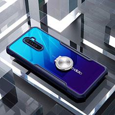 Oppo Reno Ace用360度 フルカバーハイブリットバンパーケース クリア透明 プラスチック 鏡面 アンド指輪 マグネット式 Oppo ネイビー