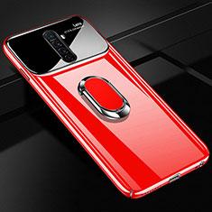 Oppo Reno Ace用ハードケース プラスチック 質感もマット アンド指輪 マグネット式 A02 Oppo レッド