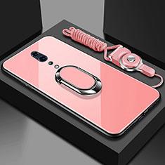 Oppo Reno Z用ハイブリットバンパーケース プラスチック 鏡面 カバー アンド指輪 マグネット式 Oppo ローズゴールド