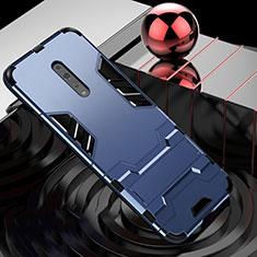 Oppo Reno Z用ハイブリットバンパーケース スタンド プラスチック 兼シリコーン カバー Oppo ネイビー