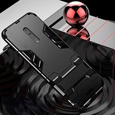 Oppo Reno Z用ハイブリットバンパーケース スタンド プラスチック 兼シリコーン カバー Oppo ブラック