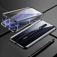 Oppo Reno Z用ケース 高級感 手触り良い アルミメタル 製の金属製 360度 フルカバーバンパー 鏡面 カバー Oppo ブラック