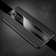 Oppo Reno2用シリコンケース ソフトタッチラバー レザー柄 カバー S04 Oppo ブラック