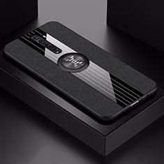 Oppo Reno2用極薄ソフトケース シリコンケース 耐衝撃 全面保護 アンド指輪 マグネット式 バンパー A02 Oppo ブラック