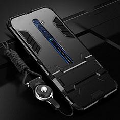 Oppo Reno2用ハイブリットバンパーケース スタンド プラスチック 兼シリコーン カバー Oppo ブラック