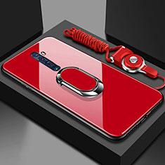 Oppo Reno2用ハイブリットバンパーケース プラスチック 鏡面 カバー アンド指輪 マグネット式 Oppo レッド