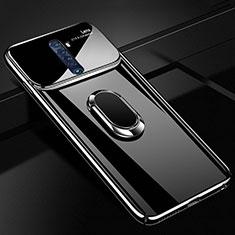 Oppo Reno2用ハードケース プラスチック 質感もマット アンド指輪 マグネット式 A02 Oppo ブラック