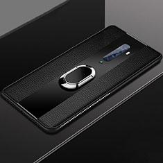 Oppo Reno2用シリコンケース ソフトタッチラバー レザー柄 アンド指輪 マグネット式 T04 Oppo ブラック