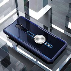 Oppo Reno2用360度 フルカバーハイブリットバンパーケース クリア透明 プラスチック 鏡面 アンド指輪 マグネット式 Oppo ネイビー