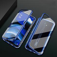 Oppo Reno2 Z用ケース 高級感 手触り良い アルミメタル 製の金属製 360度 フルカバーバンパー 鏡面 カバー Oppo ネイビー