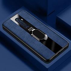 Oppo Reno2 Z用シリコンケース ソフトタッチラバー レザー柄 アンド指輪 マグネット式 Oppo ネイビー