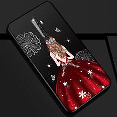 Oppo Reno2 Z用シリコンケース ソフトタッチラバー バタフライ ドレスガール ドレス少女 カバー Oppo レッド・ブラック