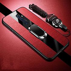 Oppo Reno2 Z用シリコンケース ソフトタッチラバー レザー柄 アンド指輪 マグネット式 S02 Oppo レッド