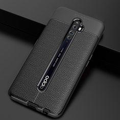 Oppo Reno2 Z用シリコンケース ソフトタッチラバー レザー柄 カバー S03 Oppo ブラック