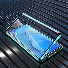 Oppo Reno3 Pro用ケース 高級感 手触り良い アルミメタル 製の金属製 360度 フルカバーバンパー 鏡面 カバー M02 Oppo グリーン
