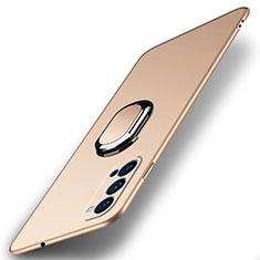 Oppo Reno4 5G用ハードケース プラスチック 質感もマット アンド指輪 マグネット式 A01 Oppo ゴールド
