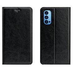 Oppo Reno4 5G用手帳型 レザーケース スタンド カバー T02 Oppo ブラック
