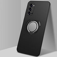 Oppo Reno4 5G用極薄ソフトケース シリコンケース 耐衝撃 全面保護 アンド指輪 マグネット式 バンパー T01 Oppo ブラック