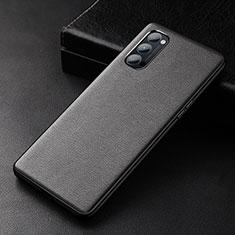 Oppo Reno4 5G用ケース 高級感 手触り良いレザー柄 R01 Oppo ブラック