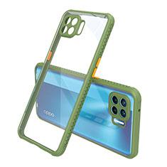 Oppo Reno4 Lite用ハイブリットバンパーケース クリア透明 プラスチック 鏡面 カバー Oppo グリーン