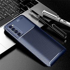 Oppo Reno4 Pro 4G用シリコンケース ソフトタッチラバー ツイル カバー Oppo ネイビー