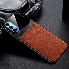Oppo Reno4 Pro 5G用シリコンケース ソフトタッチラバー レザー柄 カバー S01 Oppo ブラウン