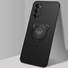 Oppo Reno4 Pro 5G用極薄ソフトケース シリコンケース 耐衝撃 全面保護 アンド指輪 マグネット式 バンパー T02 Oppo ブラック