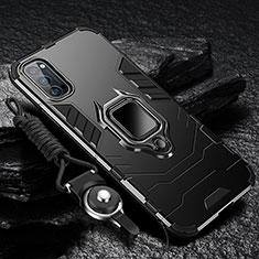 Oppo Reno4 Pro 5G用ハイブリットバンパーケース プラスチック アンド指輪 マグネット式 R01 Oppo ブラック