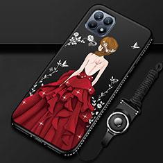 Oppo Reno4 SE 5G用シリコンケース ソフトタッチラバー バタフライ ドレスガール ドレス少女 カバー Oppo レッド・ブラック