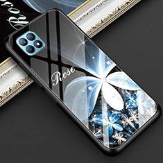 Oppo Reno4 SE 5G用ハイブリットバンパーケース プラスチック 鏡面 花 カバー Oppo ブラック