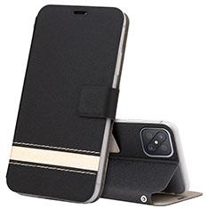 Oppo Reno4 Z 5G用手帳型 レザーケース スタンド カバー L03 Oppo ブラック