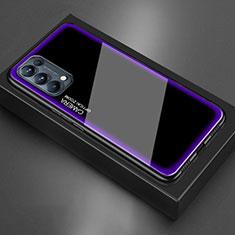 Oppo Reno5 5G用ハイブリットバンパーケース プラスチック 鏡面 カバー M01 Oppo パープル