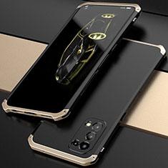 Oppo Reno5 5G用360度 フルカバー ケース 高級感 手触り良い アルミメタル 製の金属製 M01 Oppo ゴールド・ブラック