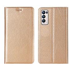 Oppo Reno5 Pro+ Plus 5G用手帳型 レザーケース スタンド カバー L02 Oppo ゴールド