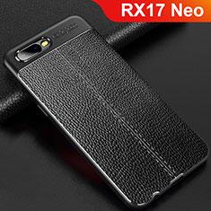 Oppo RX17 Neo用シリコンケース ソフトタッチラバー レザー柄 Oppo ブラック