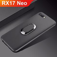 Oppo RX17 Neo用極薄ソフトケース シリコンケース 耐衝撃 全面保護 アンド指輪 マグネット式 バンパー A01 Oppo ブラック