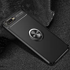 Oppo RX17 Neo用極薄ソフトケース シリコンケース 耐衝撃 全面保護 アンド指輪 マグネット式 バンパー A02 Oppo ブラック