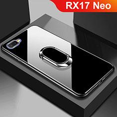 Oppo RX17 Neo用ハイブリットバンパーケース プラスチック 鏡面 カバー M01 Oppo ブラック