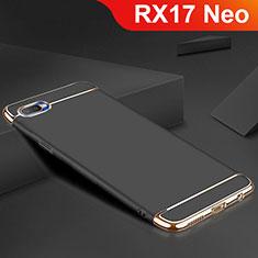 Oppo RX17 Neo用ケース 高級感 手触り良い メタル兼シリコン バンパー M02 Oppo ブラック