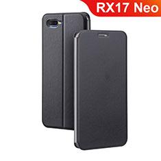 Oppo RX17 Neo用手帳型 レザーケース スタンド カバー Oppo ブラック