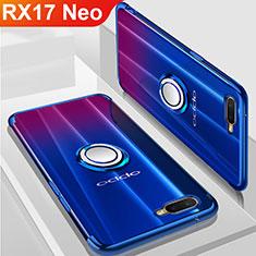 Oppo RX17 Neo用極薄ソフトケース シリコンケース 耐衝撃 全面保護 クリア透明 アンド指輪 マグネット式 S01 Oppo ネイビー