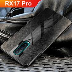 Oppo RX17 Pro用シリコンケース ソフトタッチラバー レザー柄 Oppo ブラック