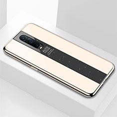 Oppo RX17 Pro用ハイブリットバンパーケース プラスチック 鏡面 カバー Oppo ゴールド