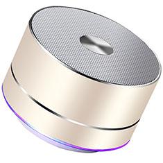 Huawei Ascend G520用Bluetoothミニスピーカー ポータブルで高音質 ポータブルスピーカー K01 ゴールド