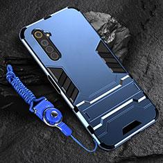 Realme 6用ハイブリットバンパーケース スタンド プラスチック 兼シリコーン カバー A01 Realme ネイビー