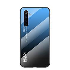 Realme 6用ハイブリットバンパーケース プラスチック 鏡面 虹 グラデーション 勾配色 カバー Realme ネイビー