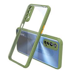 Realme 7用ハイブリットバンパーケース クリア透明 プラスチック 鏡面 カバー Realme グリーン