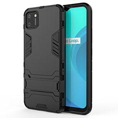 Realme C11用ハイブリットバンパーケース スタンド プラスチック 兼シリコーン カバー Realme ブラック