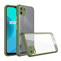 Realme C11用ハイブリットバンパーケース クリア透明 プラスチック 鏡面 カバー Realme グリーン